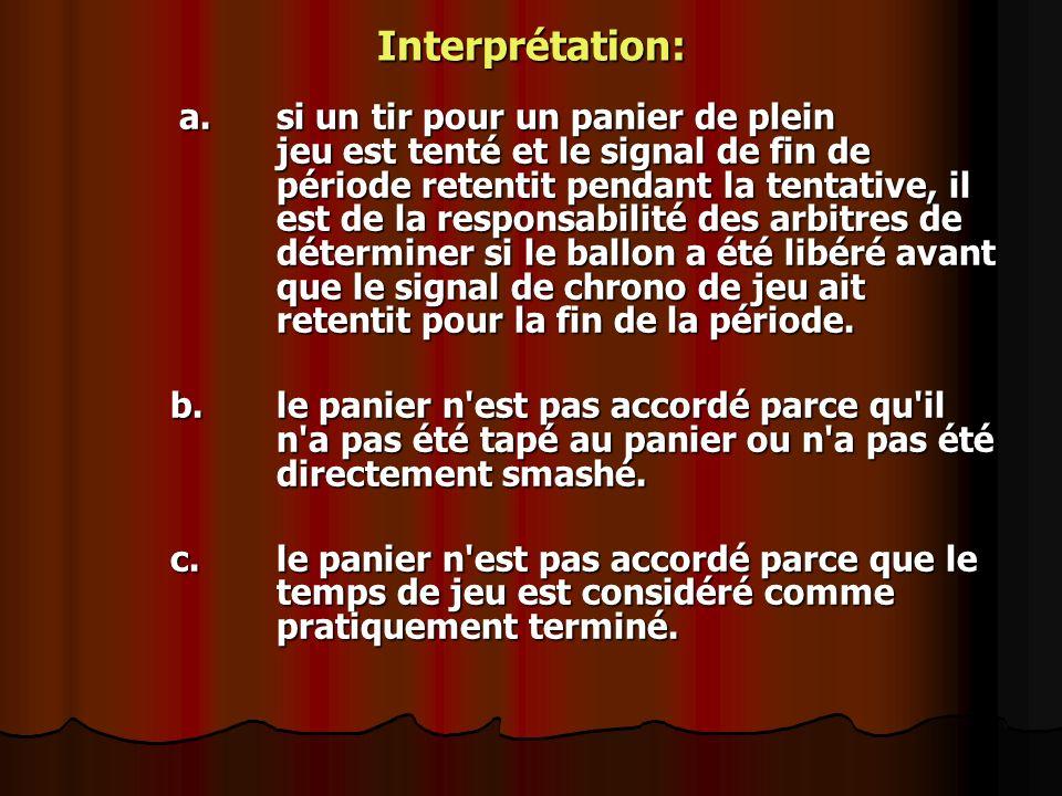 Interprétation: a. si un tir pour un panier de plein jeu est tenté et le signal de fin de période retentit pendant la tentative, il est de la responsa