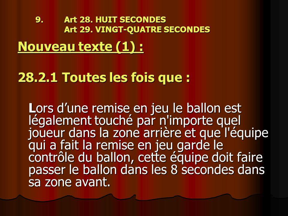 9.Art 28. HUIT SECONDES Art 29. VINGT-QUATRE SECONDES Nouveau texte (1) : 28.2.1 Toutes les fois que : Lors dune remise en jeu le ballon est légalemen
