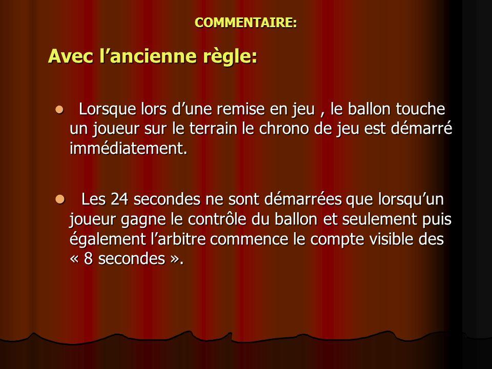 COMMENTAIRE: Avec lancienne règle: Lorsque lors dune remise en jeu, le ballon touche un joueur sur le terrain le chrono de jeu est démarré immédiateme