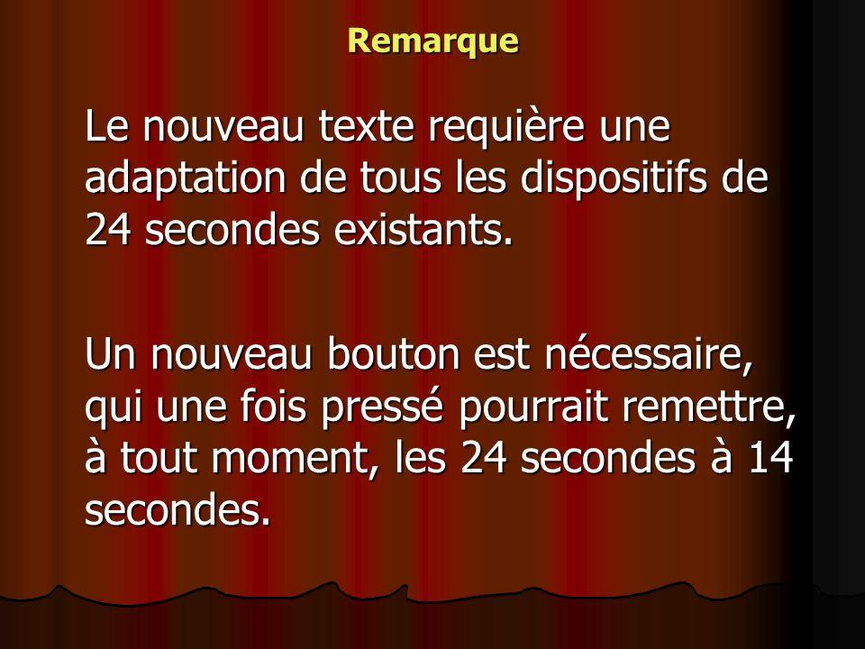 Remarque Le nouveau texte requière une adaptation de tous les dispositifs de 24 secondes existants. Un nouveau bouton est nécessaire, qui une fois pre