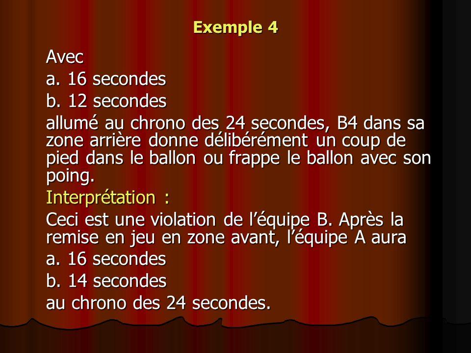Exemple 4 Avec a. 16 secondes b. 12 secondes allumé au chrono des 24 secondes, B4 dans sa zone arrière donne délibérément un coup de pied dans le ball