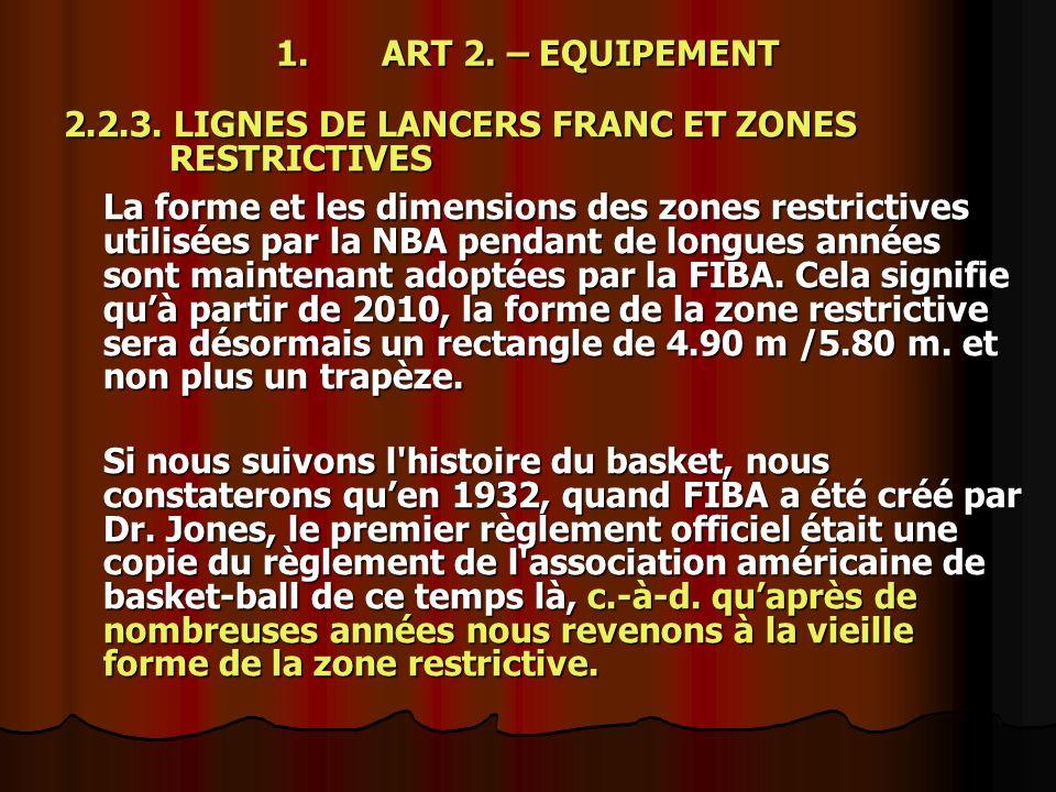 1. ART 2. – EQUIPEMENT 2.2.3. LIGNES DE LANCERS FRANC ET ZONES RESTRICTIVES La forme et les dimensions des zones restrictives utilisées par la NBA pen