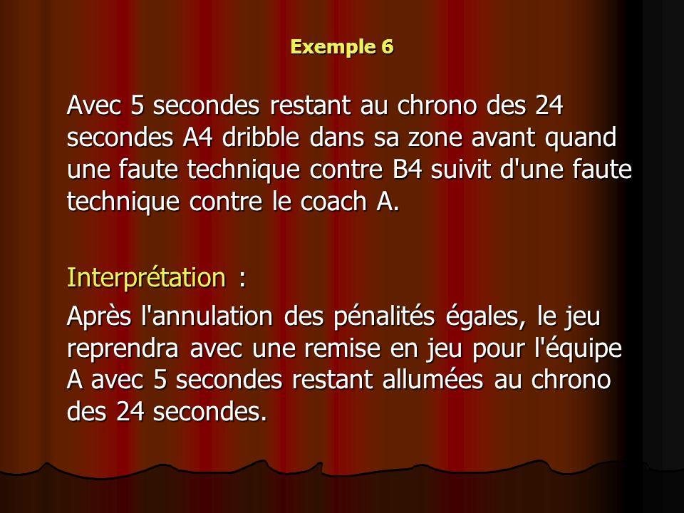 Exemple 6 Avec 5 secondes restant au chrono des 24 secondes A4 dribble dans sa zone avant quand une faute technique contre B4 suivit d'une faute techn