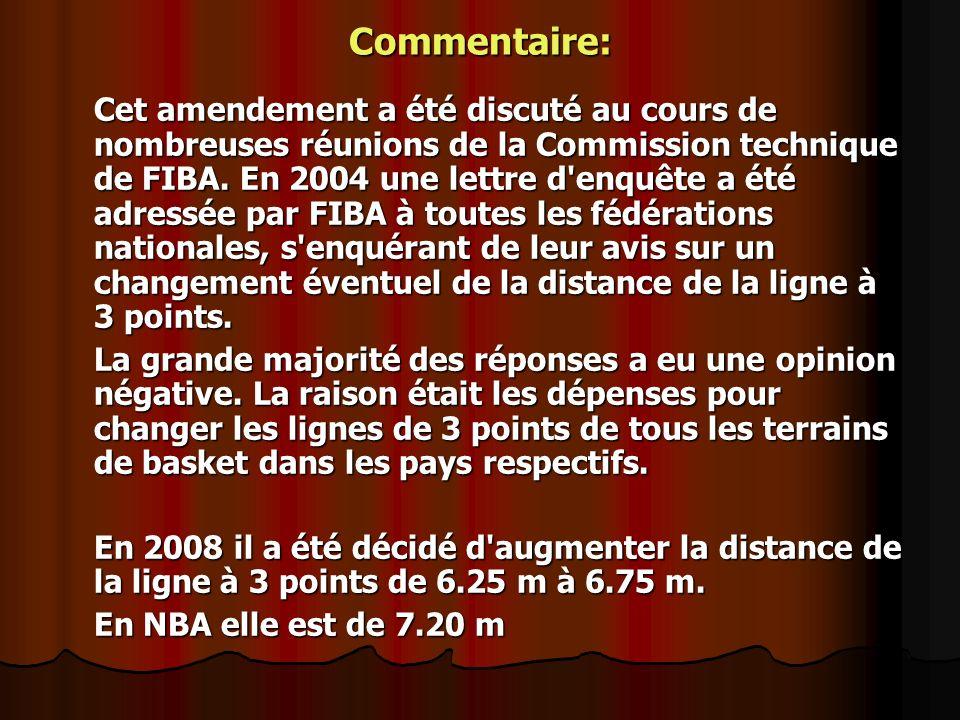 Commentaire: Cet amendement a été discuté au cours de nombreuses réunions de la Commission technique de FIBA. En 2004 une lettre d'enquête a été adres
