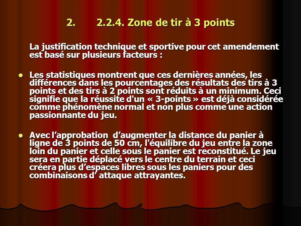 2.2.2.4. Zone de tir à 3 points La justification technique et sportive pour cet amendement est basé sur plusieurs facteurs : Les statistiques montrent