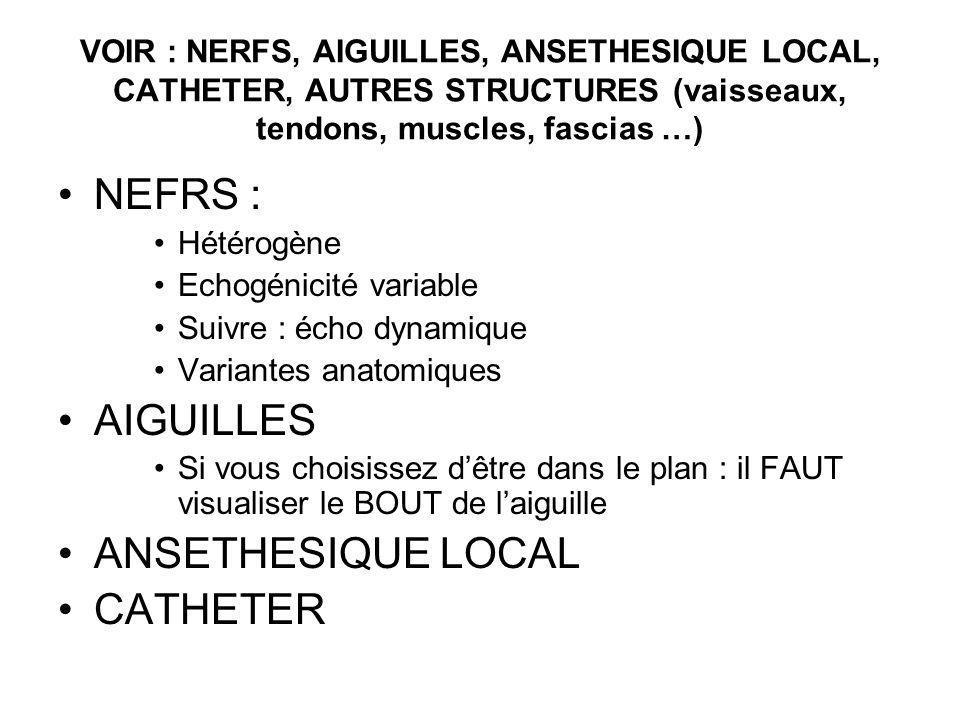 VOIR : NERFS, AIGUILLES, ANSETHESIQUE LOCAL, CATHETER, AUTRES STRUCTURES (vaisseaux, tendons, muscles, fascias …) NEFRS : Hétérogène Echogénicité vari