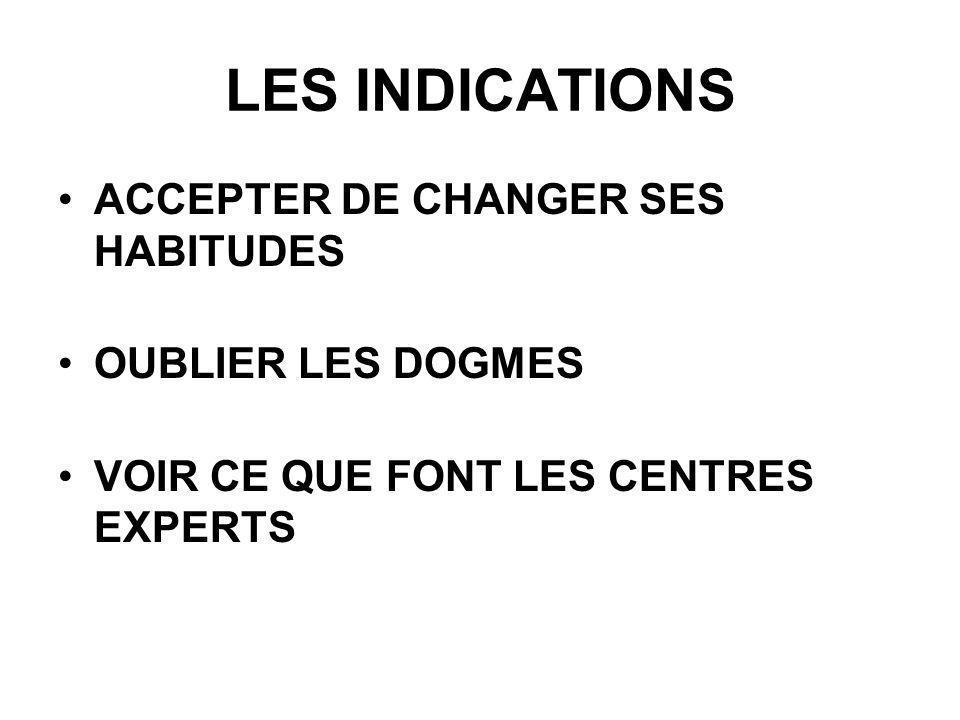 LES INDICATIONS ACCEPTER DE CHANGER SES HABITUDES OUBLIER LES DOGMES VOIR CE QUE FONT LES CENTRES EXPERTS