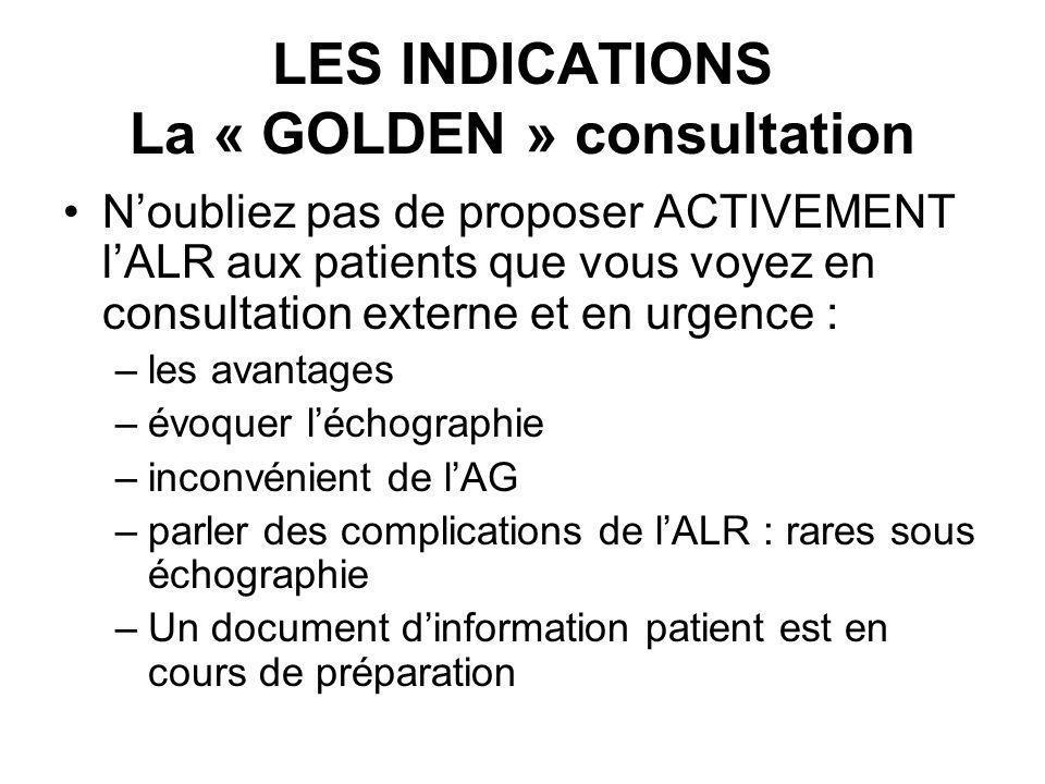 LES INDICATIONS La « GOLDEN » consultation Noubliez pas de proposer ACTIVEMENT lALR aux patients que vous voyez en consultation externe et en urgence