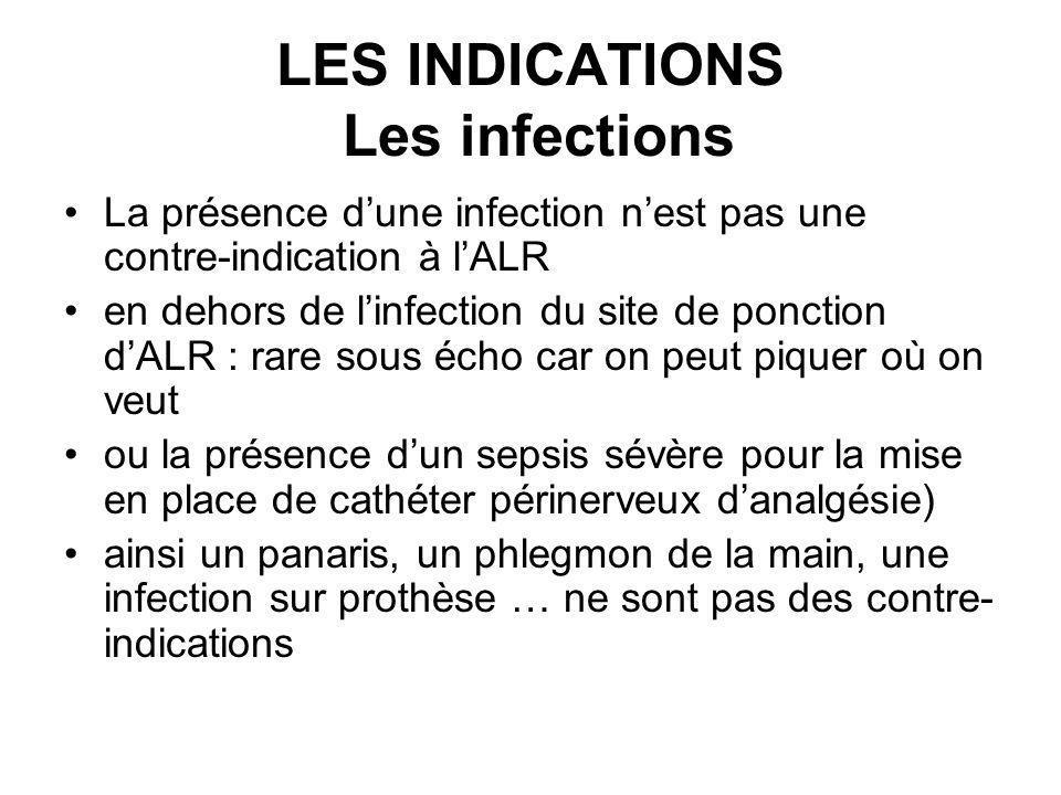 LES INDICATIONS Les infections La présence dune infection nest pas une contre-indication à lALR en dehors de linfection du site de ponction dALR : rar
