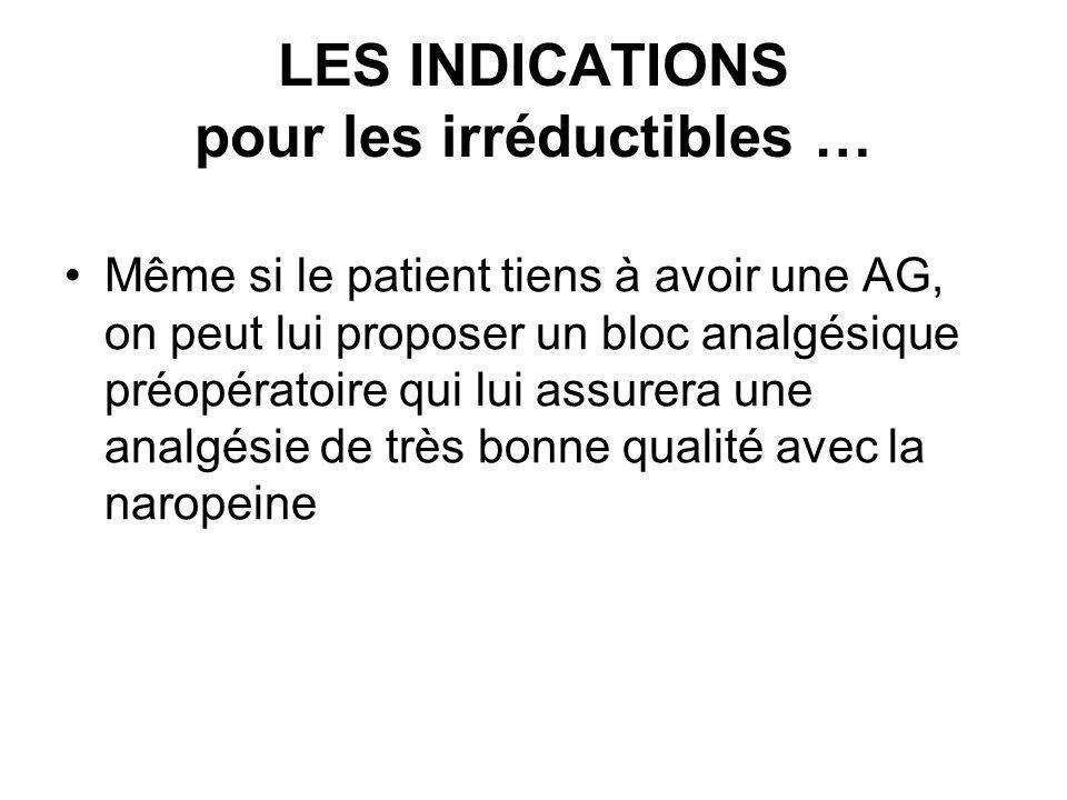 LES INDICATIONS pour les irréductibles … Même si le patient tiens à avoir une AG, on peut lui proposer un bloc analgésique préopératoire qui lui assur
