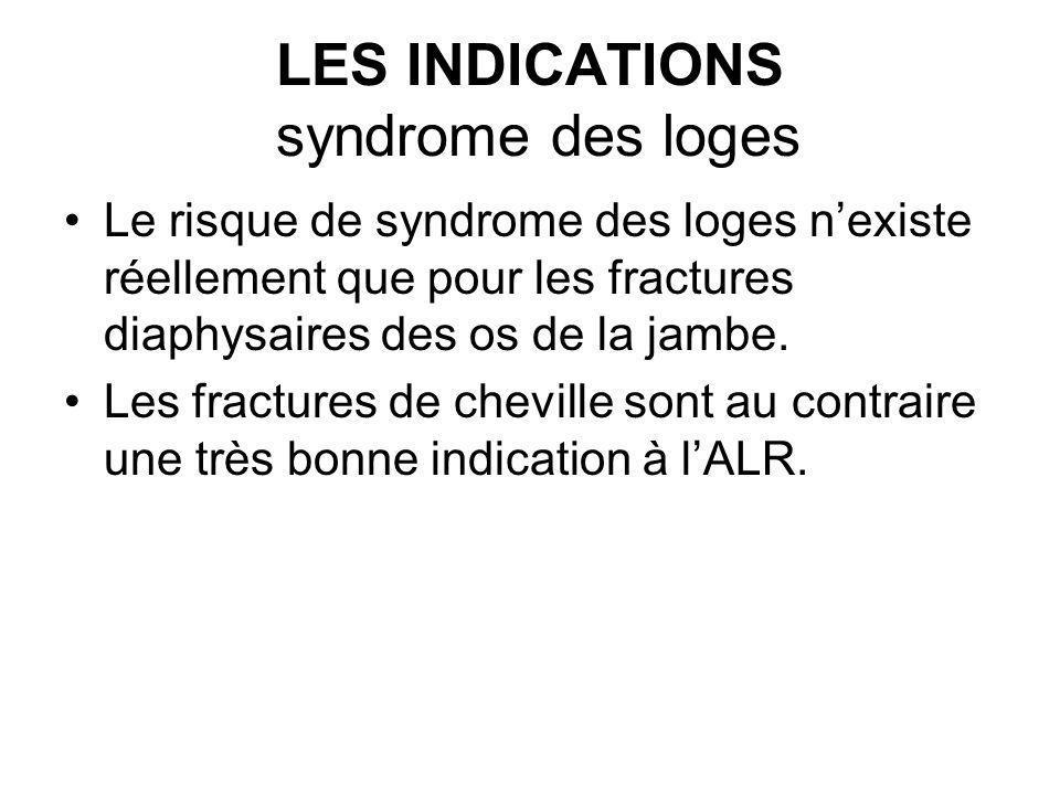 LES INDICATIONS syndrome des loges Le risque de syndrome des loges nexiste réellement que pour les fractures diaphysaires des os de la jambe. Les frac