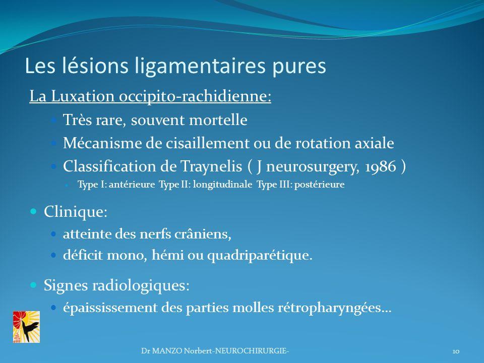 Les lésions ligamentaires pures La Luxation occipito-rachidienne: Très rare, souvent mortelle Mécanisme de cisaillement ou de rotation axiale Classifi