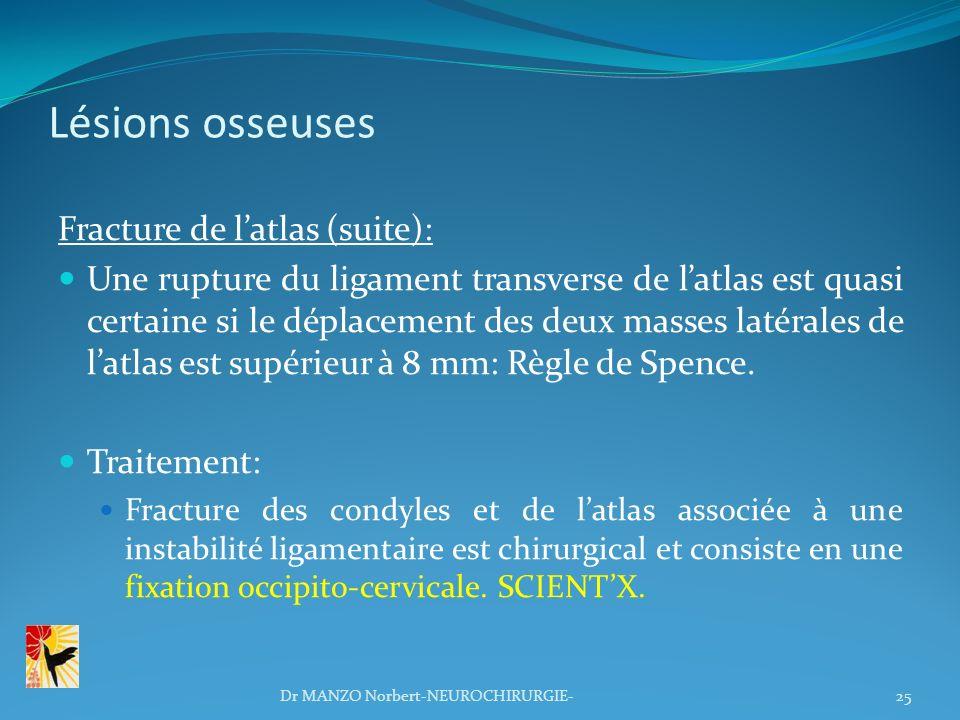 Lésions osseuses Fracture de latlas (suite): Une rupture du ligament transverse de latlas est quasi certaine si le déplacement des deux masses latéral