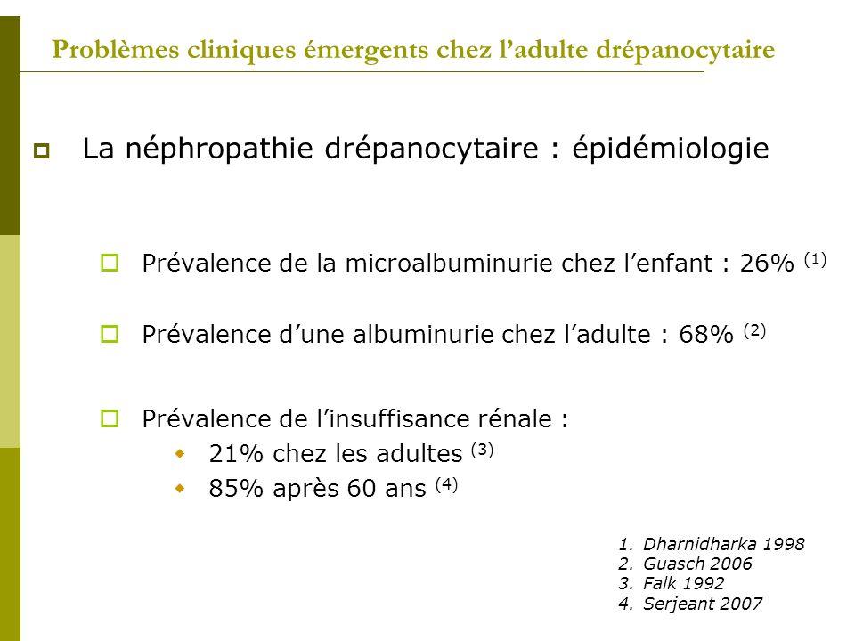 Problèmes cliniques émergents chez ladulte drépanocytaire La néphropathie drépanocytaire : épidémiologie Prévalence de la microalbuminurie chez lenfan