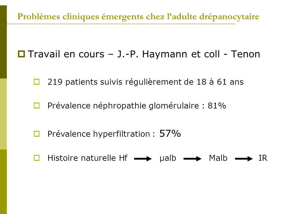 Problèmes cliniques émergents chez ladulte drépanocytaire Travail en cours – J.-P. Haymann et coll - Tenon 219 patients suivis régulièrement de 18 à 6