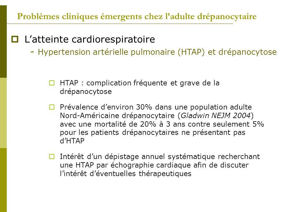 Problèmes cliniques émergents chez ladulte drépanocytaire Latteinte cardiorespiratoire - Hypertension artérielle pulmonaire (HTAP) et drépanocytose HT