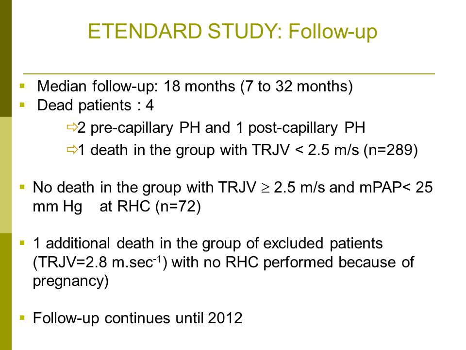 ETENDARD STUDY: Follow-up Median follow-up: 18 months (7 to 32 months) Dead patients : 4: 4 2 pre-capillary PH and 1 post-capillary PH 1 death in the