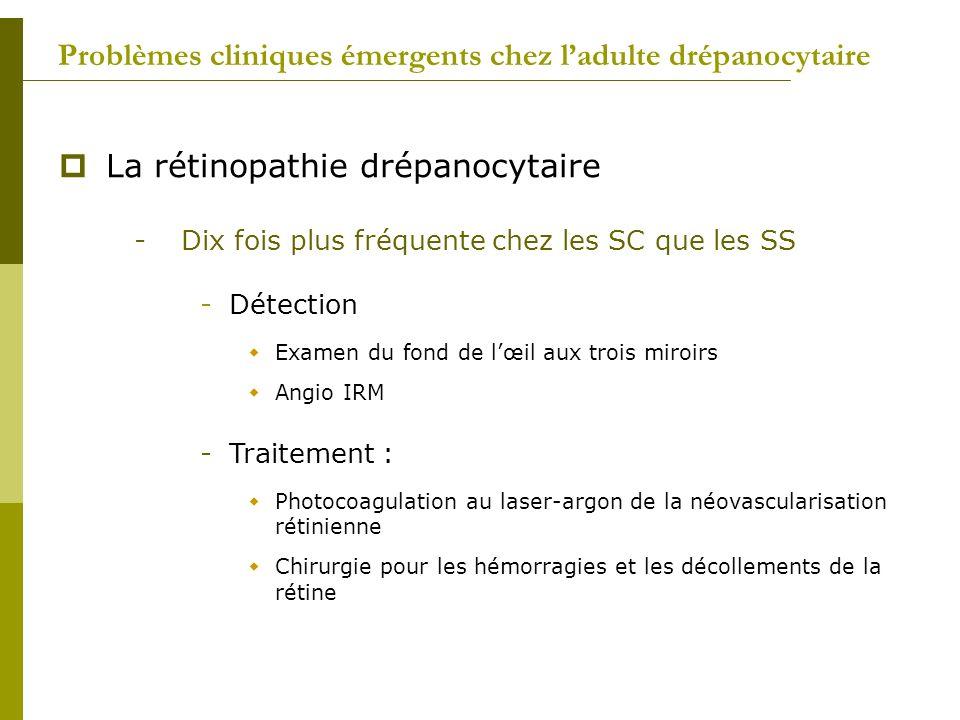 Problèmes cliniques émergents chez ladulte drépanocytaire La rétinopathie drépanocytaire -Dix fois plus fréquente chez les SC que les SS -Détection Ex