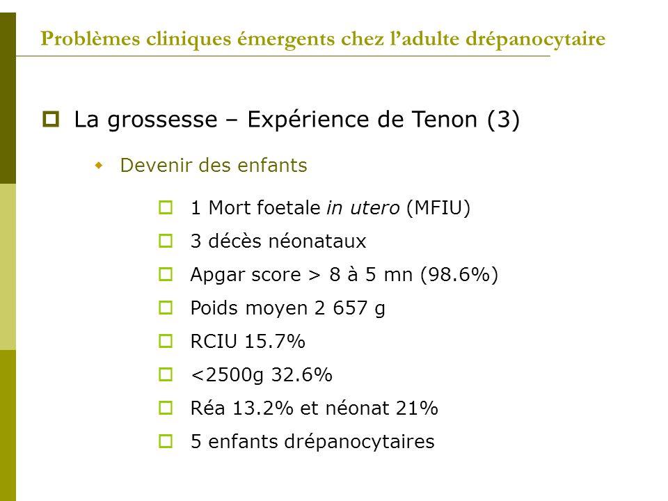 Problèmes cliniques émergents chez ladulte drépanocytaire La grossesse – Expérience de Tenon (3) Devenir des enfants 1 Mort foetale in utero (MFIU) 3