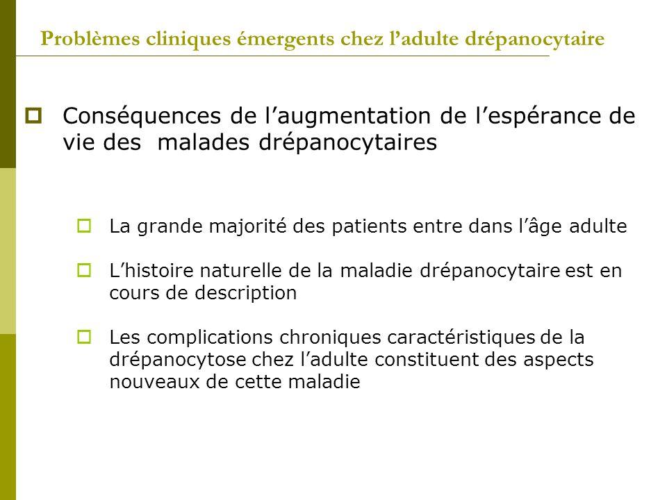 Conséquences de laugmentation de lespérance de vie des malades drépanocytaires La grande majorité des patients entre dans lâge adulte Lhistoire nature