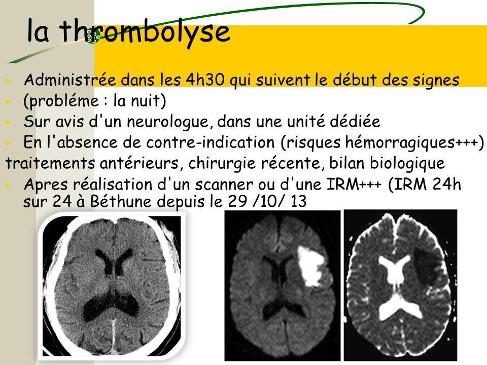 la thrombolyse Administrée dans les 4h30 qui suivent le début des signes (probléme : la nuit) Sur avis d'un neurologue, dans une unité dédiée En l'abs