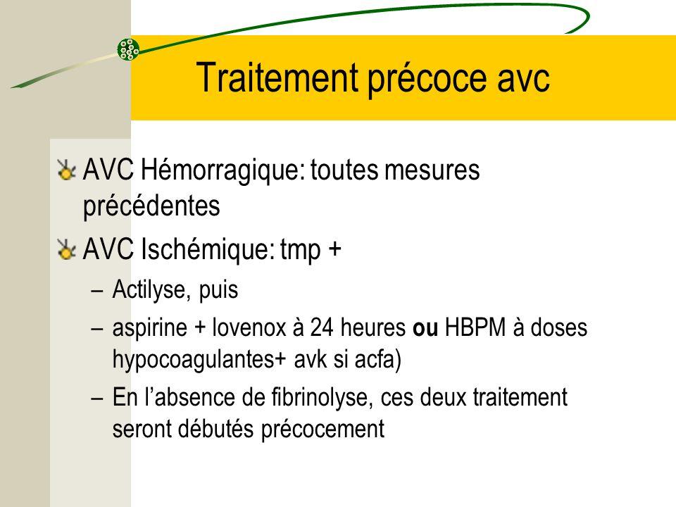 Traitement précoce avc AVC Hémorragique: toutes mesures précédentes AVC Ischémique: tmp + –Actilyse, puis –aspirine + lovenox à 24 heures ou HBPM à do