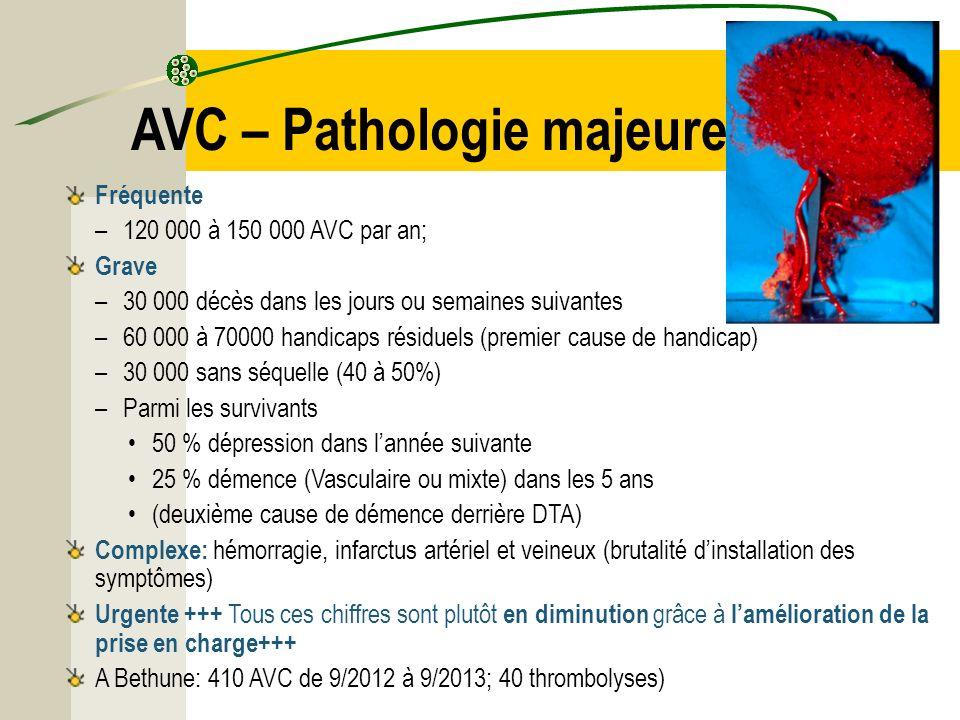 AVC – Pathologie majeure Fréquente –120 000 à 150 000 AVC par an; Grave –30 000 décès dans les jours ou semaines suivantes –60 000 à 70000 handicaps r