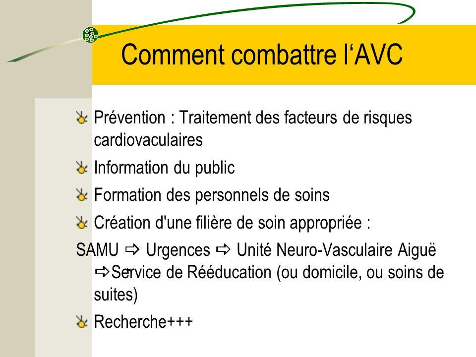 Comment combattre lAVC Prévention : Traitement des facteurs de risques cardiovaculaires Information du public Formation des personnels de soins Créati