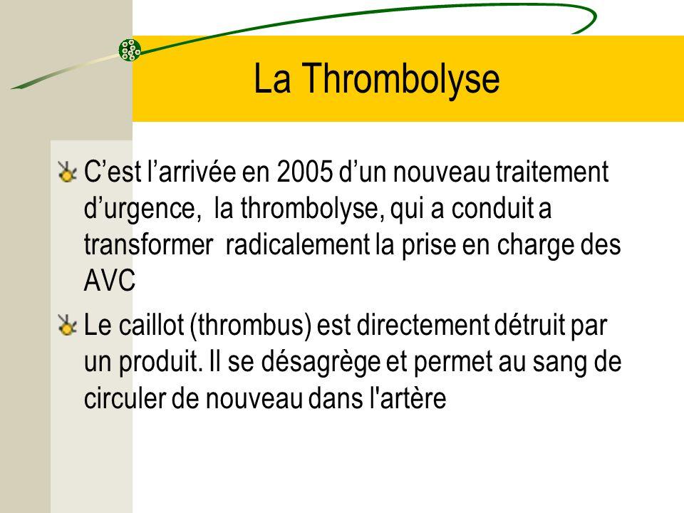 La Thrombolyse Cest larrivée en 2005 dun nouveau traitement durgence, la thrombolyse, qui a conduit a transformer radicalement la prise en charge des