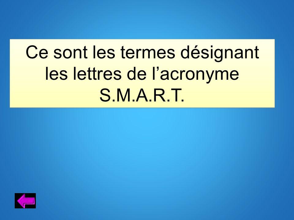 Ce sont les termes désignant les lettres de lacronyme S.M.A.R.T.
