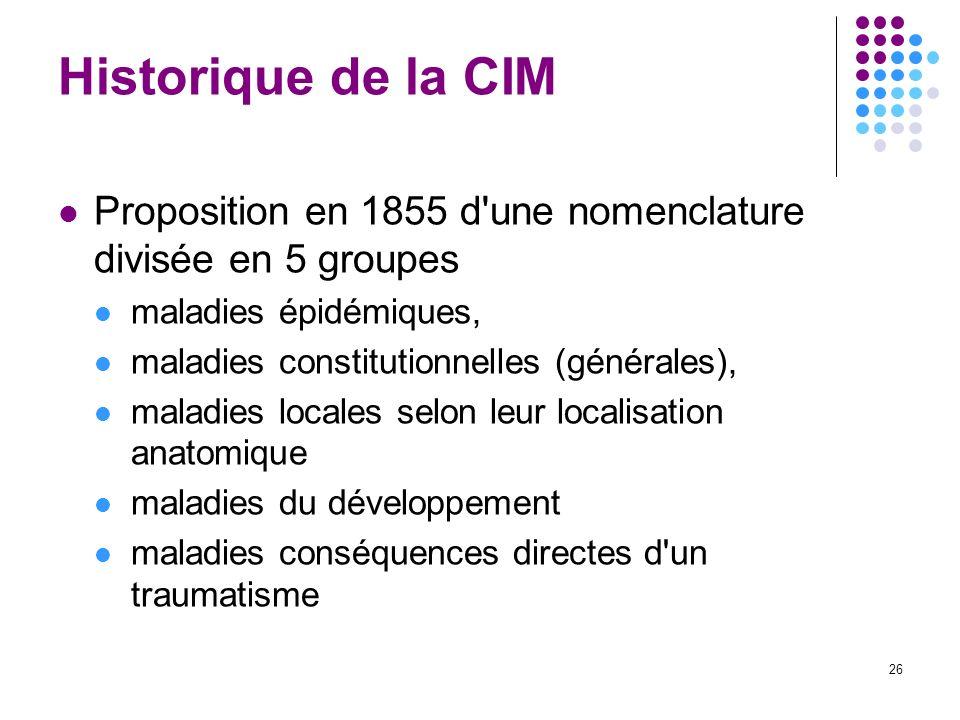 26 Historique de la CIM Proposition en 1855 d'une nomenclature divisée en 5 groupes maladies épidémiques, maladies constitutionnelles (générales), mal