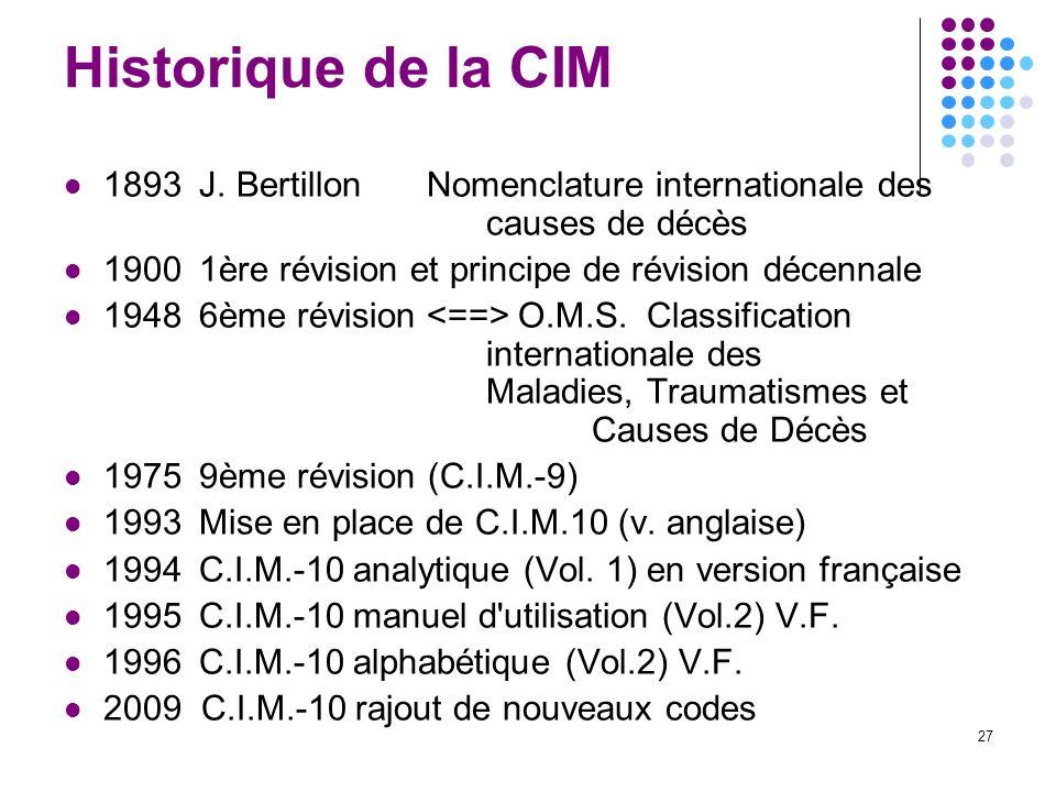 27 Historique de la CIM 1893J. BertillonNomenclature internationale des causes de décès 19001ère révision et principe de révision décennale 19486ème r