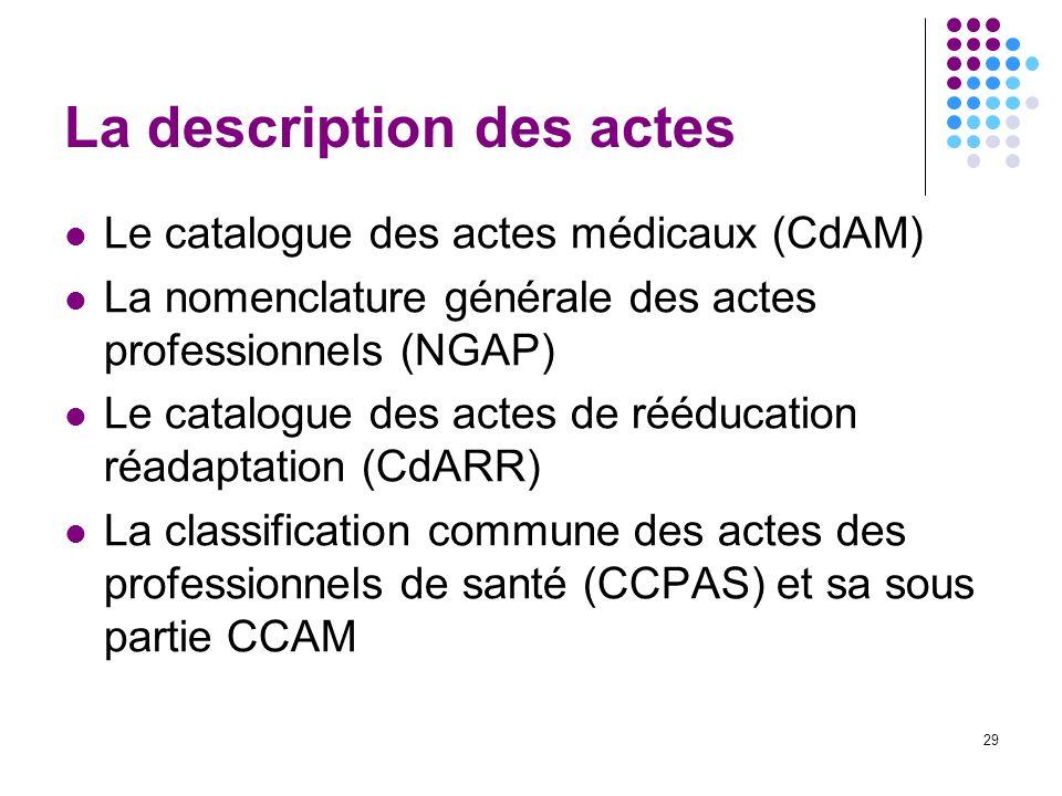29 La description des actes Le catalogue des actes médicaux (CdAM) La nomenclature générale des actes professionnels (NGAP) Le catalogue des actes de