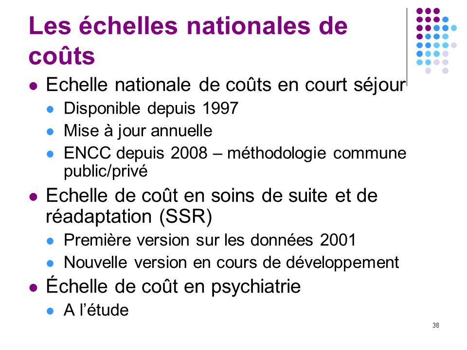 38 Les échelles nationales de coûts Echelle nationale de coûts en court séjour Disponible depuis 1997 Mise à jour annuelle ENCC depuis 2008 – méthodol