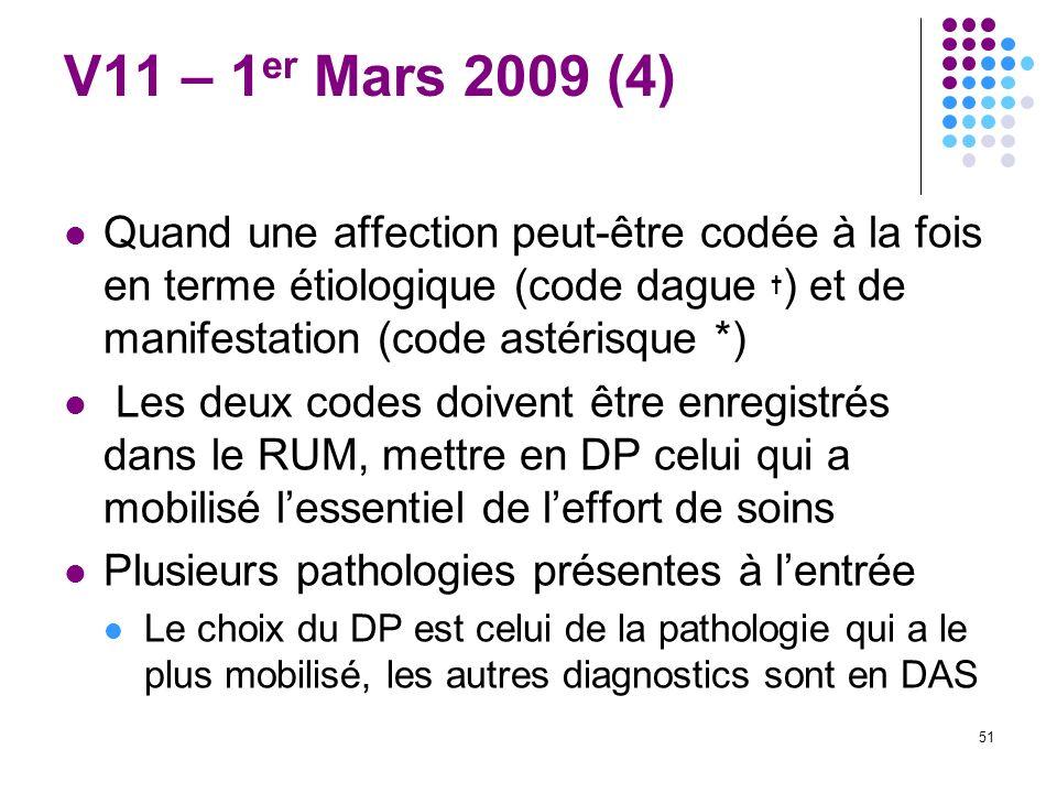 51 V11 – 1 er Mars 2009 (4) Quand une affection peut-être codée à la fois en terme étiologique (code dague ) et de manifestation (code astérisque *) L