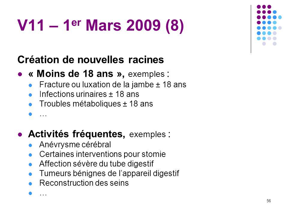 56 V11 – 1 er Mars 2009 (8) Création de nouvelles racines « Moins de 18 ans », exemples : Fracture ou luxation de la jambe ± 18 ans Infections urinair