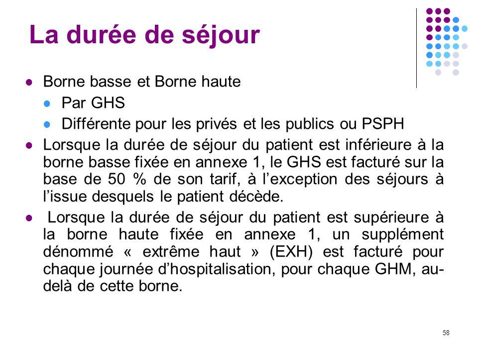 58 La durée de séjour Borne basse et Borne haute Par GHS Différente pour les privés et les publics ou PSPH Lorsque la durée de séjour du patient est i