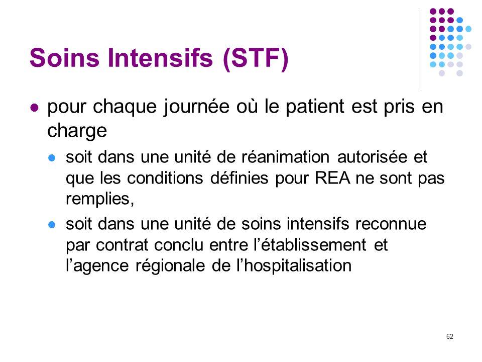 62 Soins Intensifs (STF) pour chaque journée où le patient est pris en charge soit dans une unité de réanimation autorisée et que les conditions défin