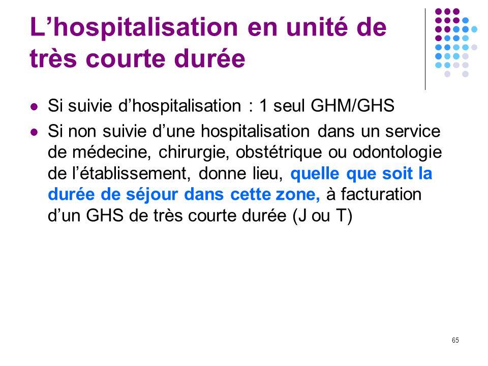 65 Lhospitalisation en unité de très courte durée Si suivie dhospitalisation : 1 seul GHM/GHS Si non suivie dune hospitalisation dans un service de mé