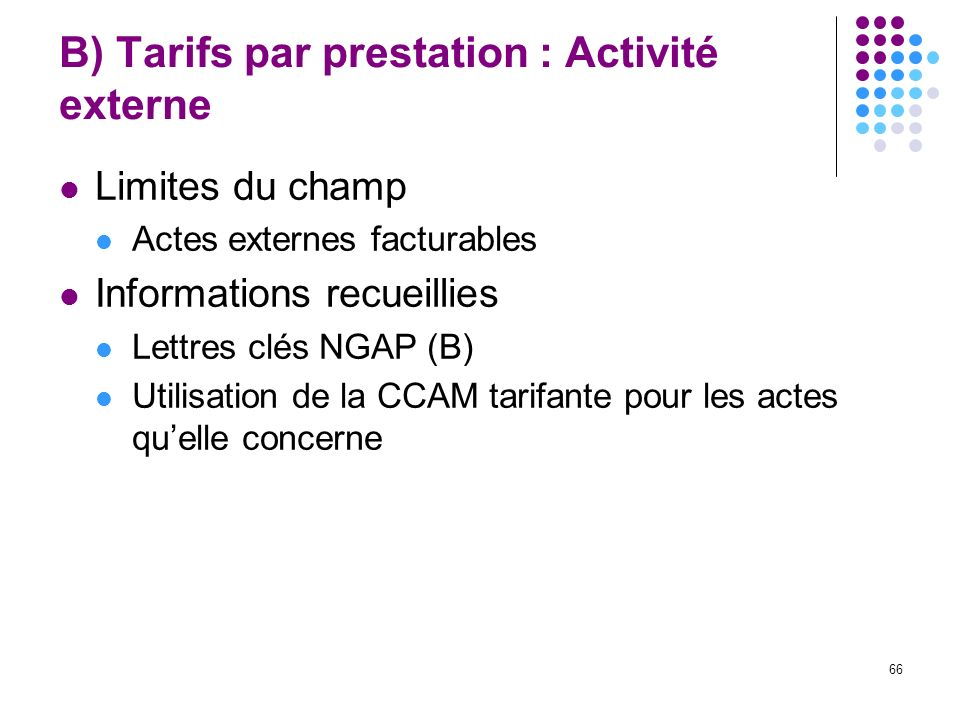 66 B) Tarifs par prestation : Activité externe Limites du champ Actes externes facturables Informations recueillies Lettres clés NGAP (B) Utilisation