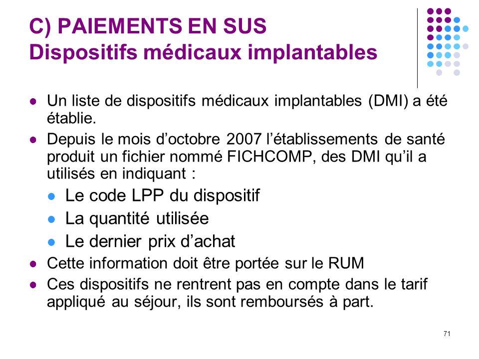 71 C) PAIEMENTS EN SUS Dispositifs médicaux implantables Un liste de dispositifs médicaux implantables (DMI) a été établie. Depuis le mois doctobre 20