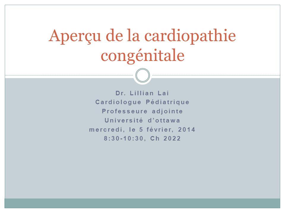 Dr. Lillian Lai Cardiologue Pédiatrique Professeure adjointe Université dottawa mercredi, le 5 février, 2014 8:30-10:30, Ch 2022 Aperçu de la cardiopa