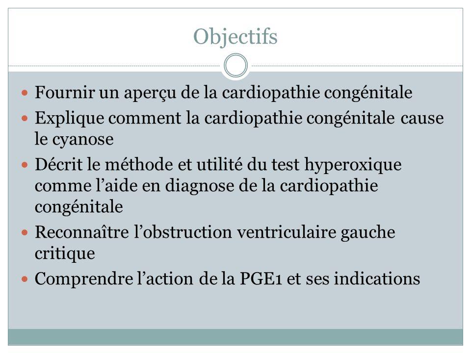 Objectifs Fournir un aperçu de la cardiopathie congénitale Explique comment la cardiopathie congénitale cause le cyanose Décrit le méthode et utilité du test hyperoxique comme laide en diagnose de la cardiopathie congénitale Reconnaître lobstruction ventriculaire gauche critique Comprendre laction de la PGE1 et ses indications