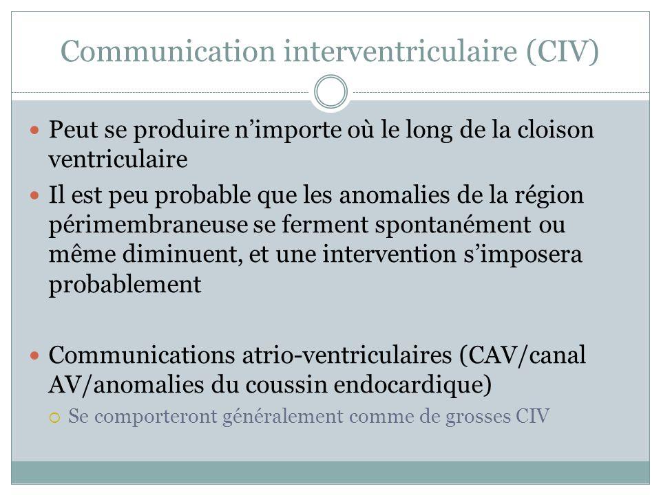 Communication interventriculaire (CIV) Peut se produire nimporte où le long de la cloison ventriculaire Il est peu probable que les anomalies de la région périmembraneuse se ferment spontanément ou même diminuent, et une intervention simposera probablement Communications atrio-ventriculaires (CAV/canal AV/anomalies du coussin endocardique) Se comporteront généralement comme de grosses CIV
