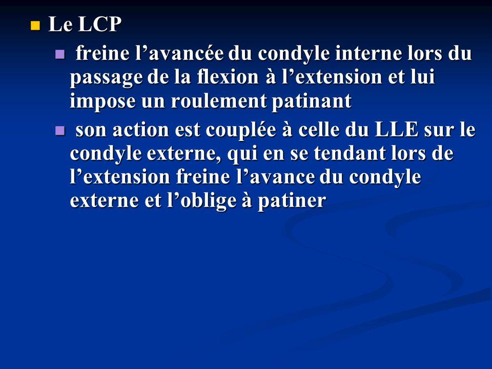 Le LCP Le LCP freine lavancée du condyle interne lors du passage de la flexion à lextension et lui impose un roulement patinant freine lavancée du con