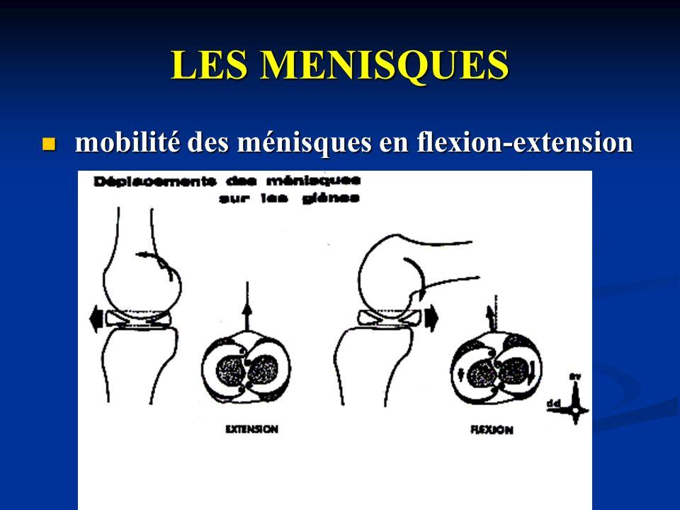 LES MENISQUES cette mobilité des ménisques est due: cette mobilité des ménisques est due: à un mécanisme passif dû à la chasse du coin méniscal par le condyle qui recule en flexion, qui avance en extension (pris en défaut si mvt rapide) à un mécanisme passif dû à la chasse du coin méniscal par le condyle qui recule en flexion, qui avance en extension (pris en défaut si mvt rapide) à un mécanisme actif: à un mécanisme actif: de la flexion vers lextension: de la flexion vers lextension: de lextension vers la flexion de lextension vers la flexion