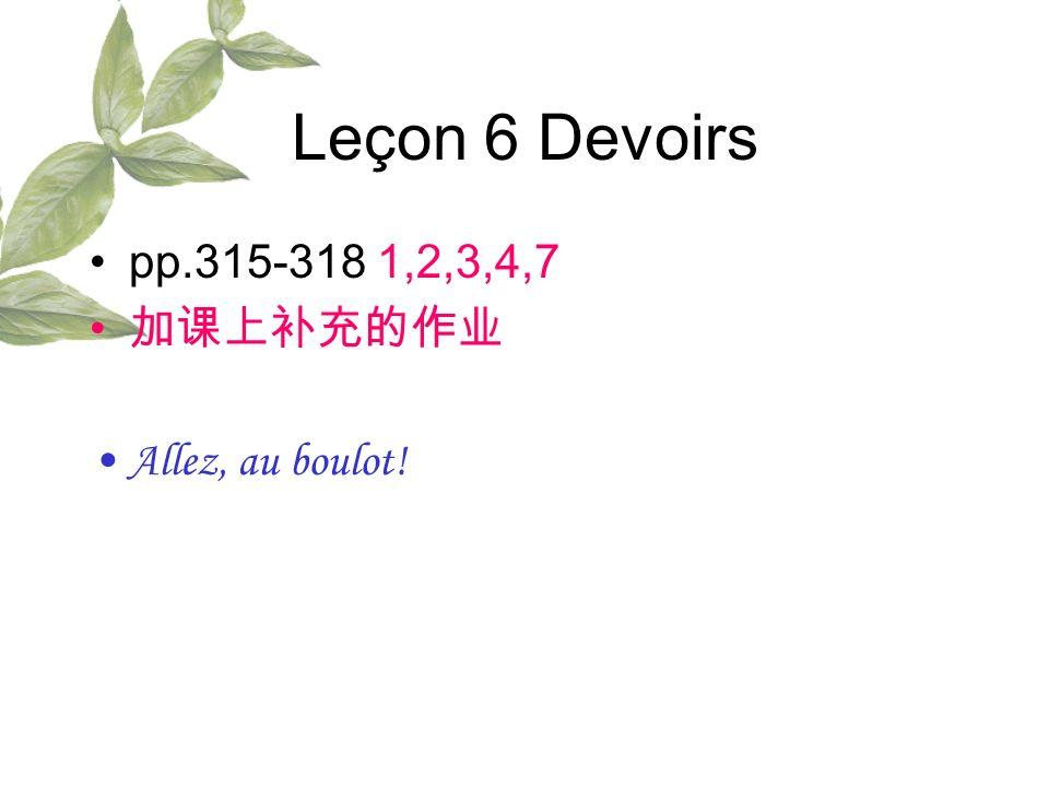 Leçon 6 Devoirs pp.315-318 1,2,3,4,7 Allez, au boulot!