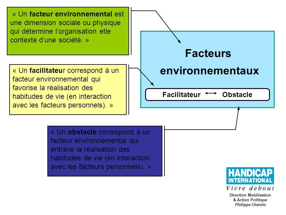 Direction Mobilisation & Action Politique Philippe Chervin Facteurs environnementaux Facilitateur Obstacle « Un facteur environnemental est une dimens