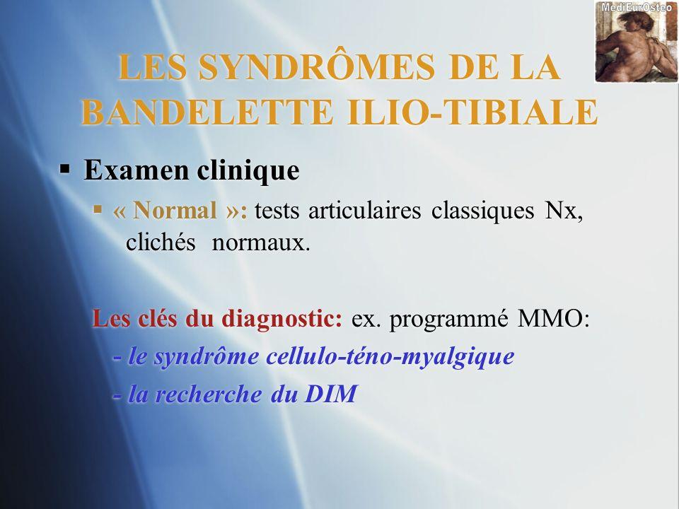 LES SYNDRÔMES DE LA BANDELETTE ILIO-TIBIALE Examen clinique « Normal »: tests articulaires classiques Nx, clichés normaux. Les clés du diagnostic: ex.