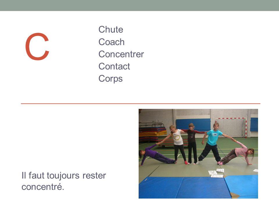 C Chute Coach Concentrer Contact Corps Il faut toujours rester concentré.